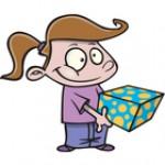 criança dando presente