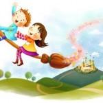 crianças voando na vassoura