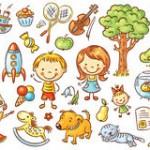 crianças e objetos