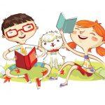 Crianças felizes lendo