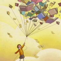 criança voando com livros