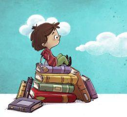 criança sentada nos livros